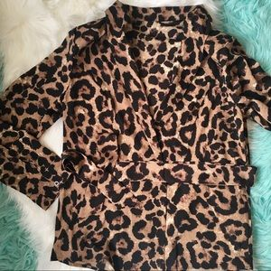 Jackets & Blazers - Belted Animal Print Shawl Thin  and Padded Blazer